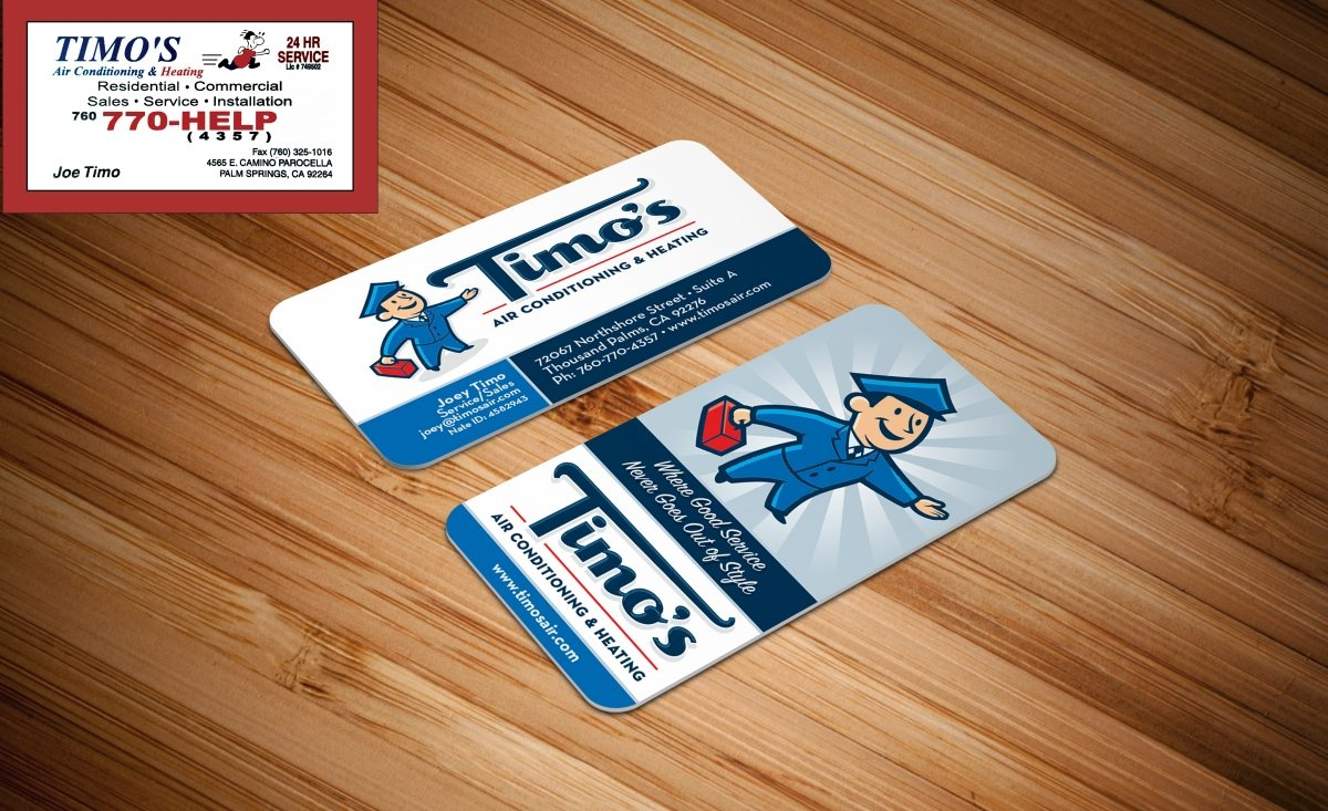 Before & after re-design for business cards for Timo's Air in Thousand Palms, CA
