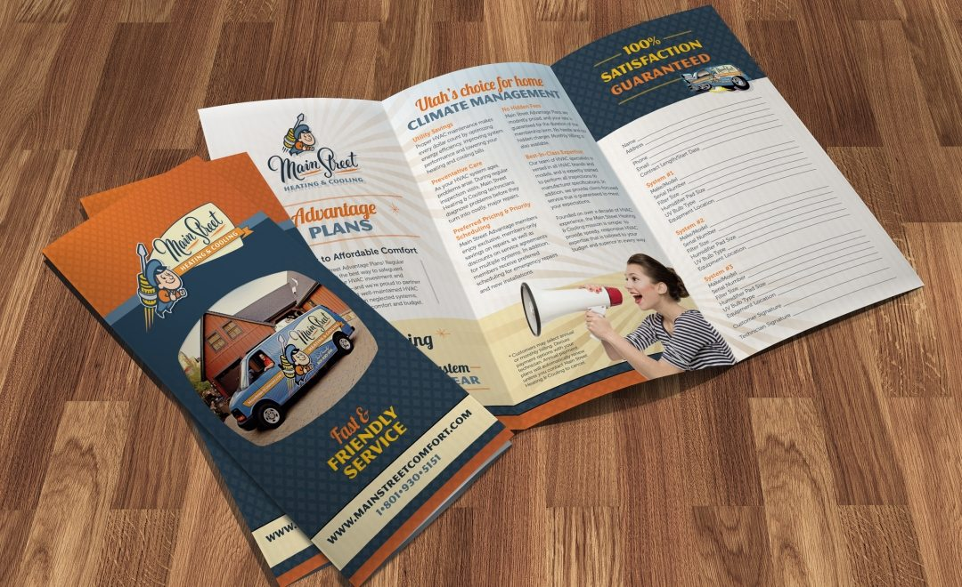 A trifold brochure for a HVAC company located in Utah.