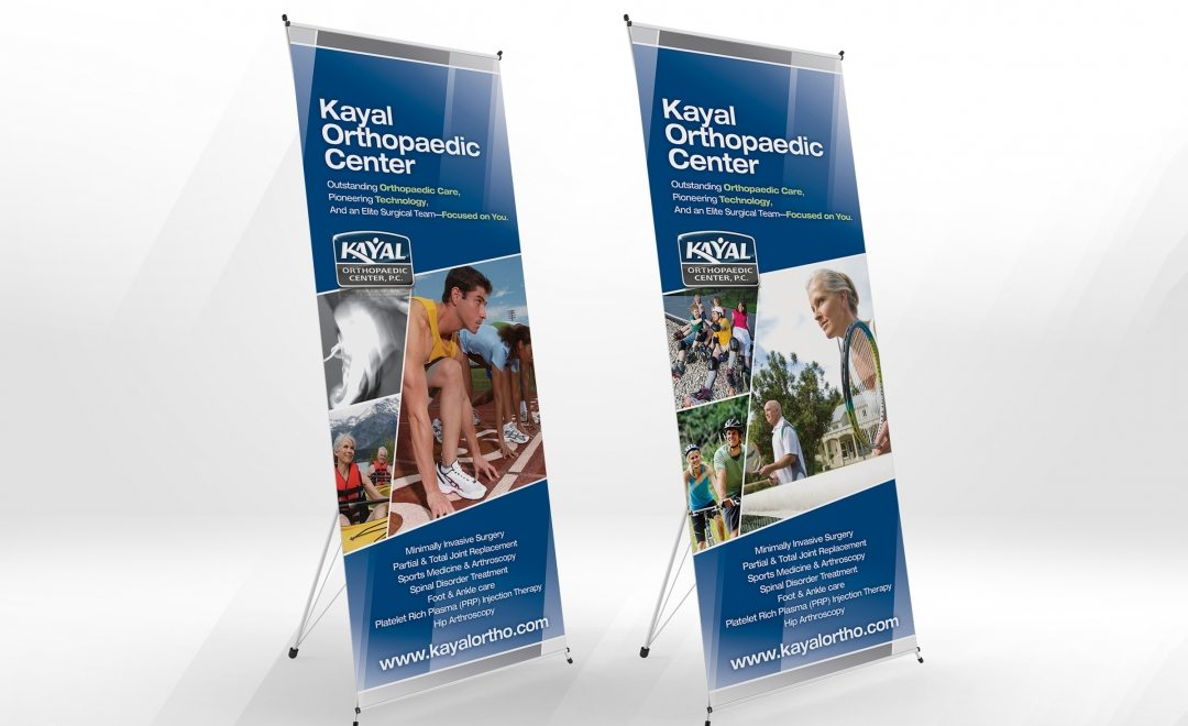 Trade Show banner stands for Kayal Orthopaedic Center, PC , a medical center in New Jersey.