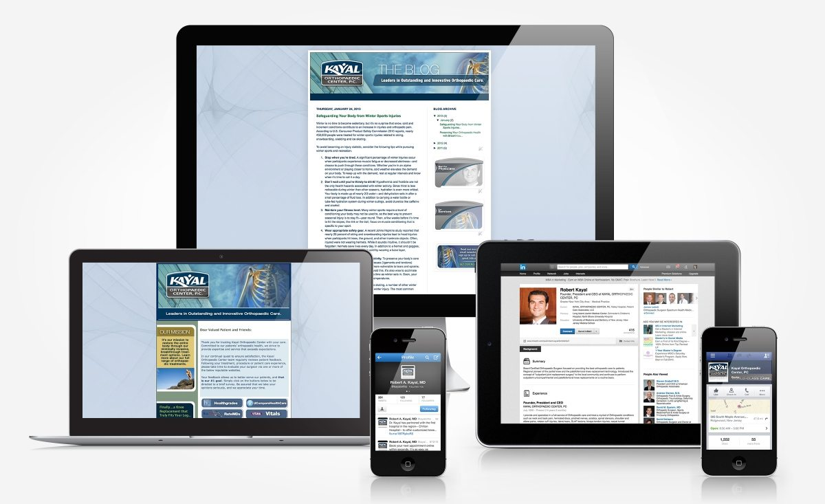Facebook, Twitter, Linkedin, blog and newslettter design and management for Kayal Orthopaedic Center.