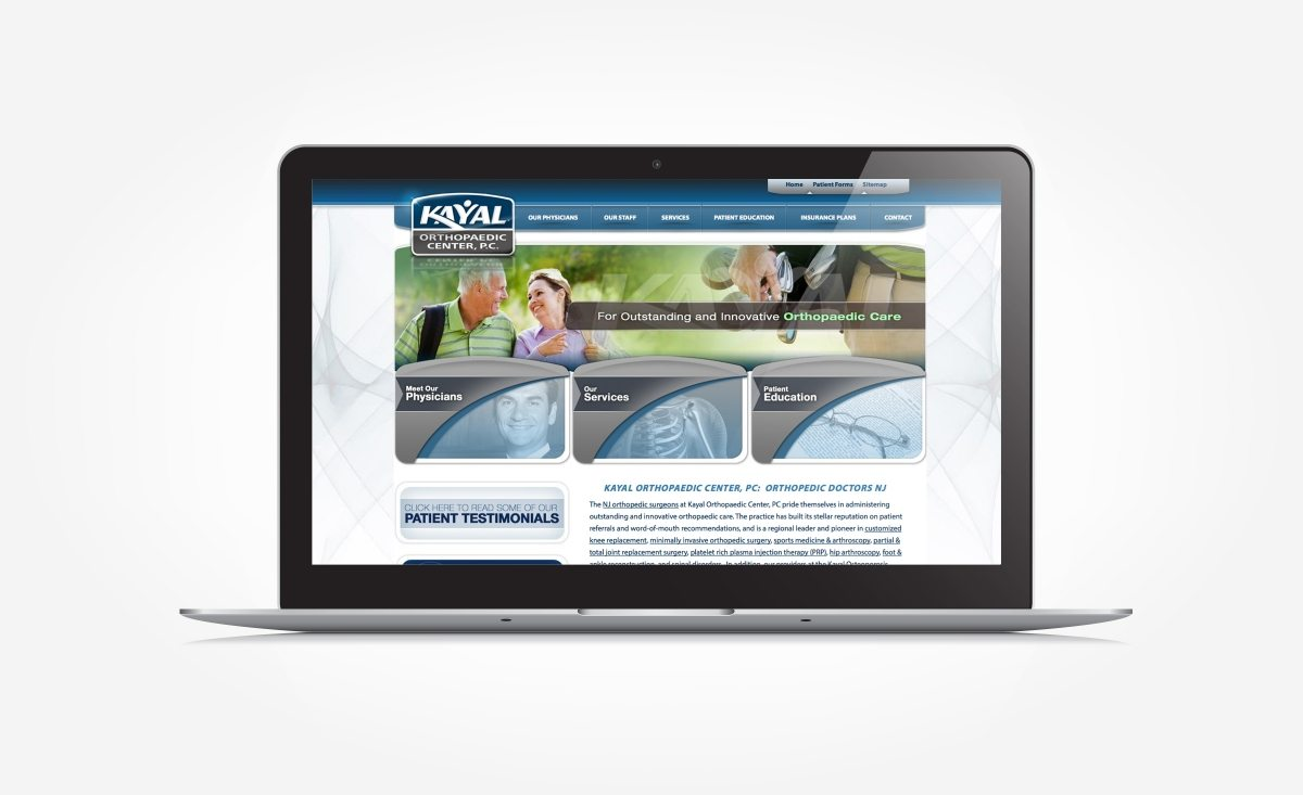 Web design and development for Franklin Lakes NJ orthopaedic center.