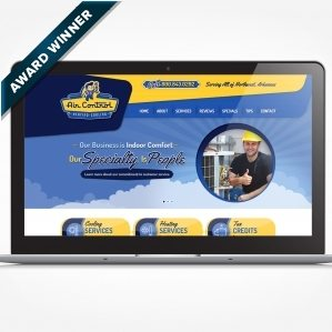 Web design for a HVAC contractor located in Springdale, AR. Award winning design - Graphic Design USA 2014 American Web Design Awards.