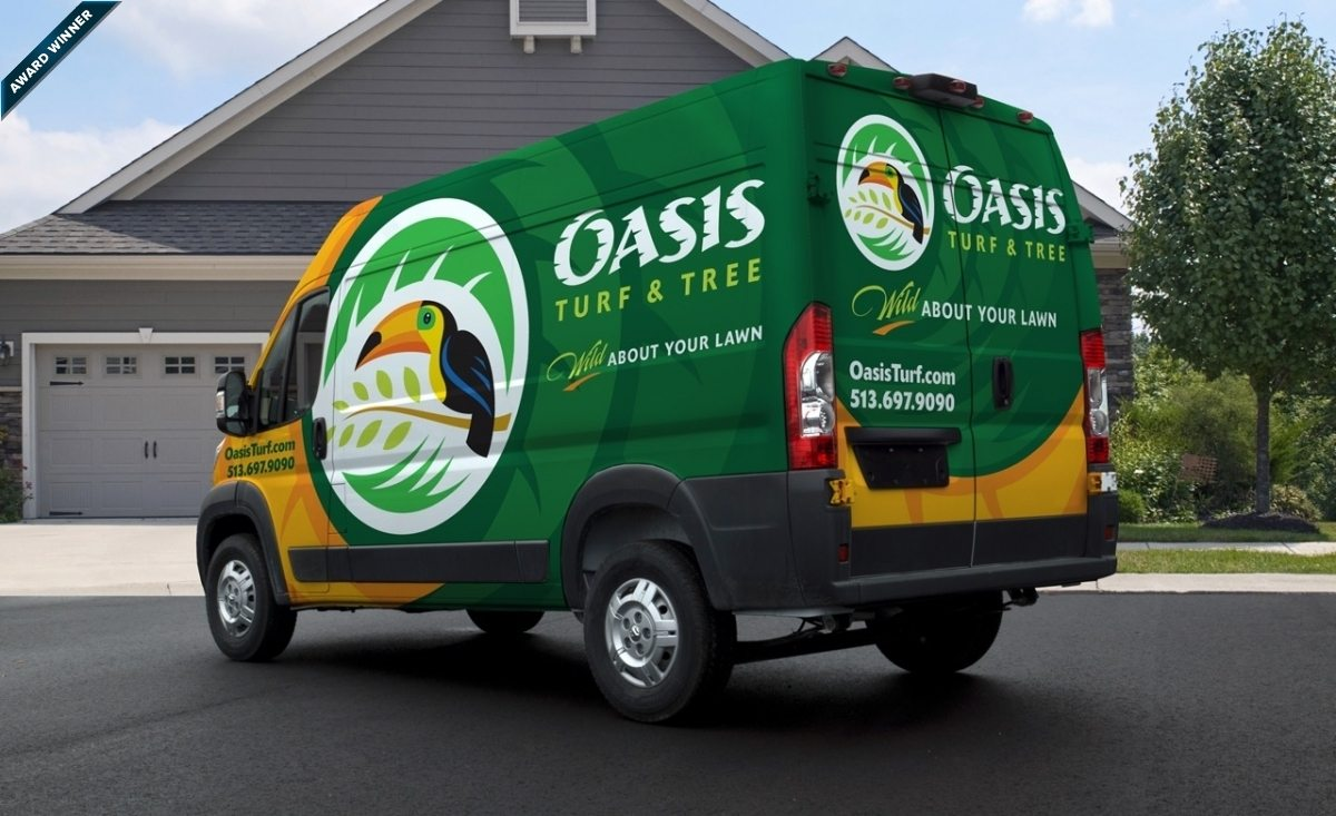 """Award winning truck wrap design for Oasis Turf and Tree, based in Ohio. This award-winning truck wrap design was the winner of the 2014 """"(Up)fit for Success"""" contest, sponsored by Mercedes-Benz Sprinter and Inc."""