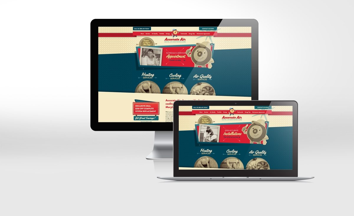 Retro themed website design using a mascot for HVAC company in Maryland.