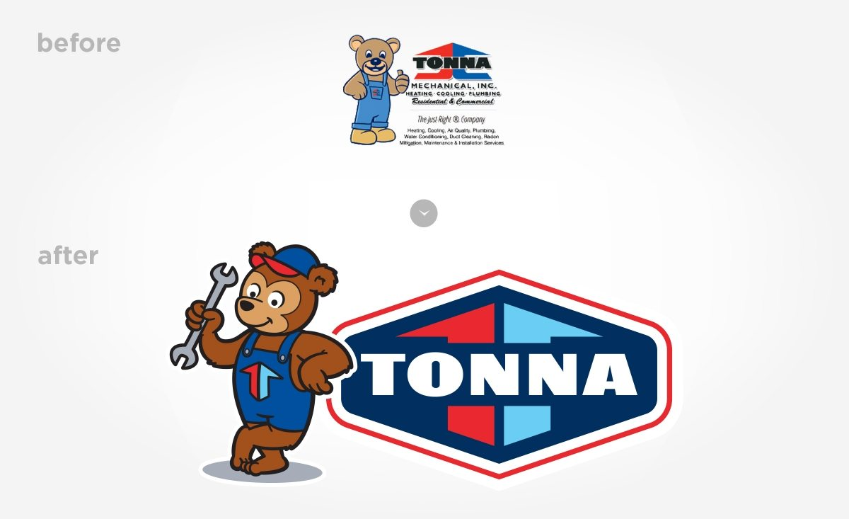 Before & after branding and logo design for a hvac contractor located in Minnesota.