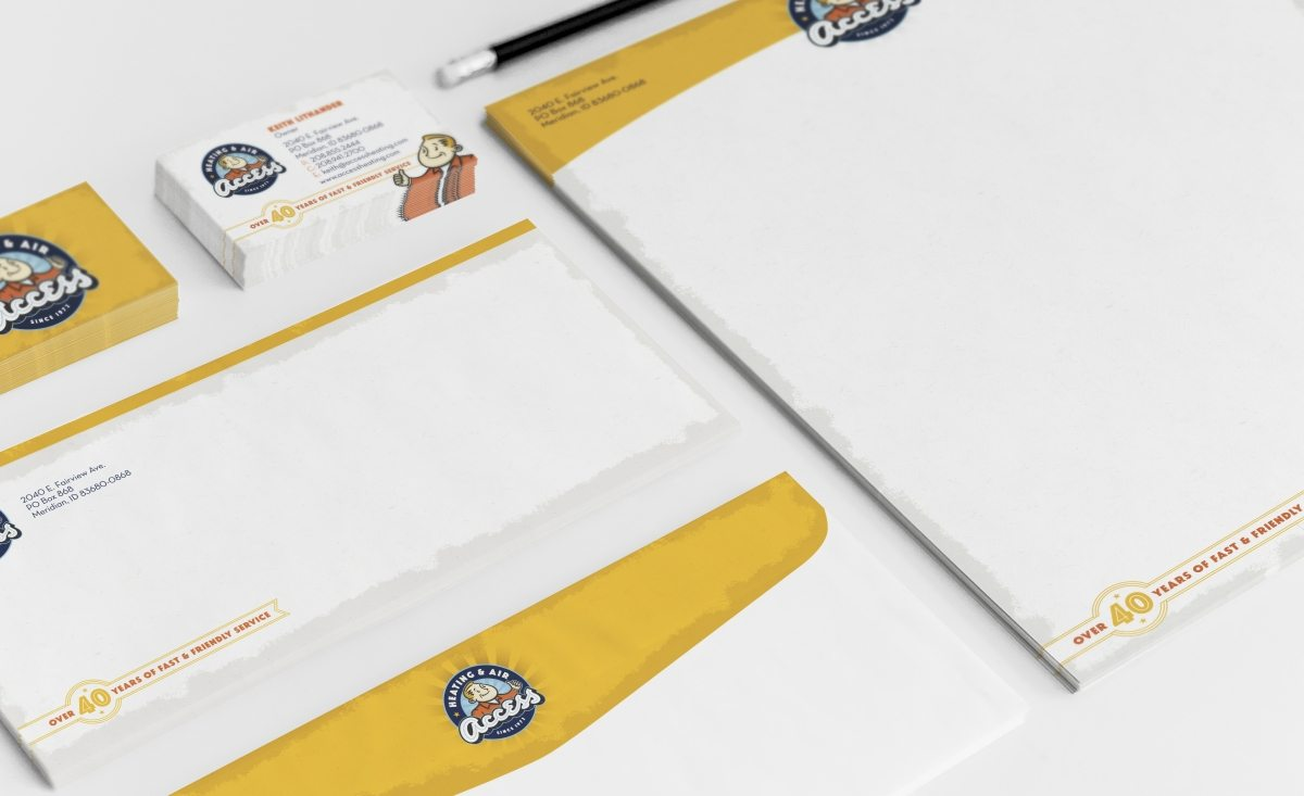 Stationery design for a HVAC contractor in Idaho.