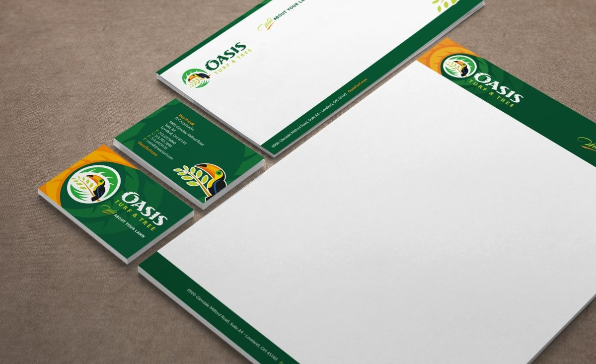 Stationery design for a lawn care specialist.