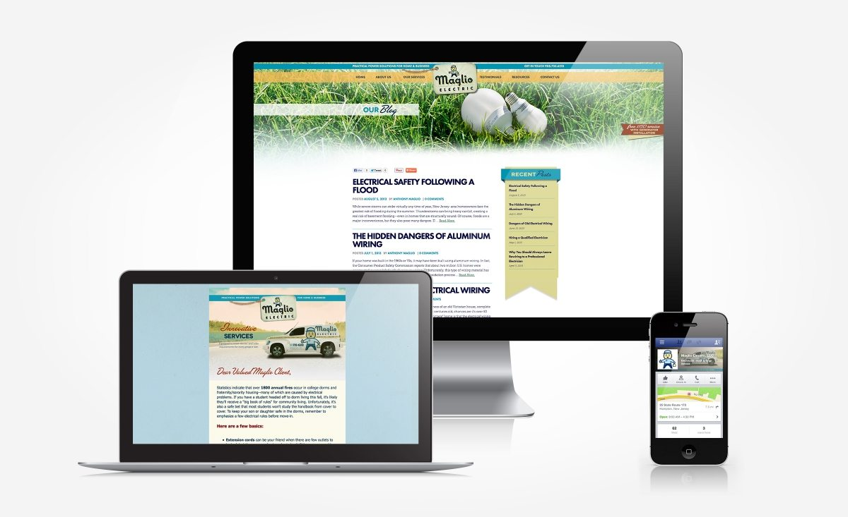 Facebook, blog and newsletter design and management for Maglio Electric.