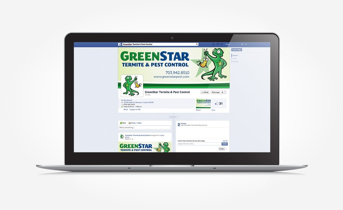 Facebook design for Greenstar Pest Control.