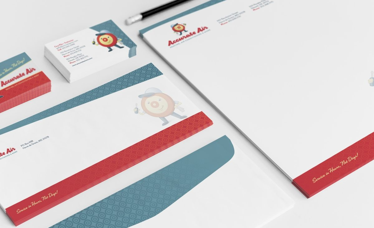 Stationery design for HVAC company in Maryland.
