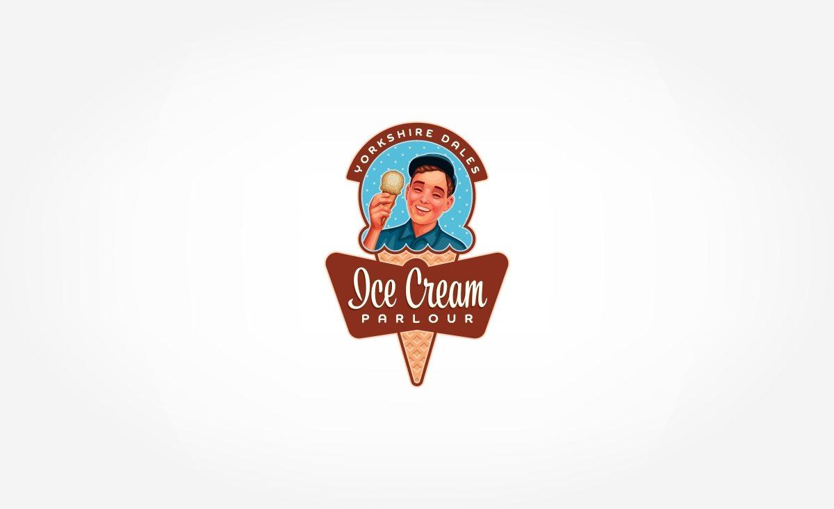 Retro logo design for a new ice cream parlour located in the UK.