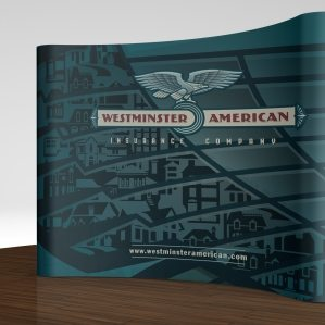 Tradeshow booth design for an insurance company in Westminster, MD.