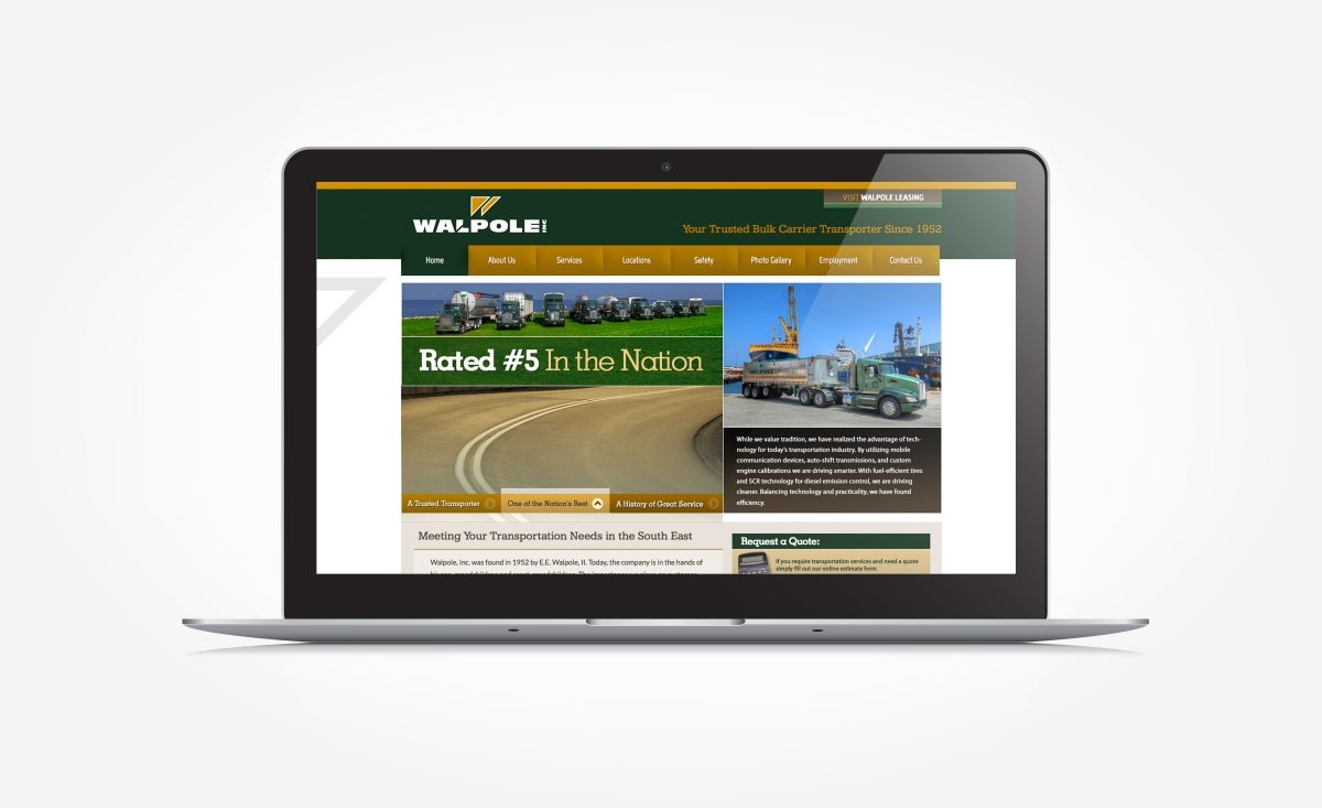 Web design for a bulk carrier transporter in Walpole, IL.