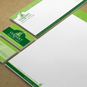 Stationery design for a contractor specializing in providing a greener approach to lawn care.