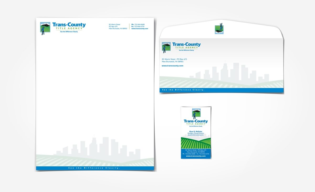 Stationery design for a New Jersey firm specializing in title agency settlement.