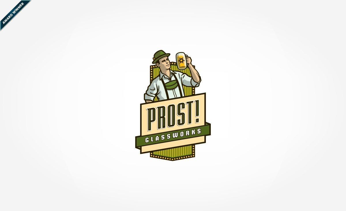 Old-style logo design for a company that does glass etching on beer steins, and featured in