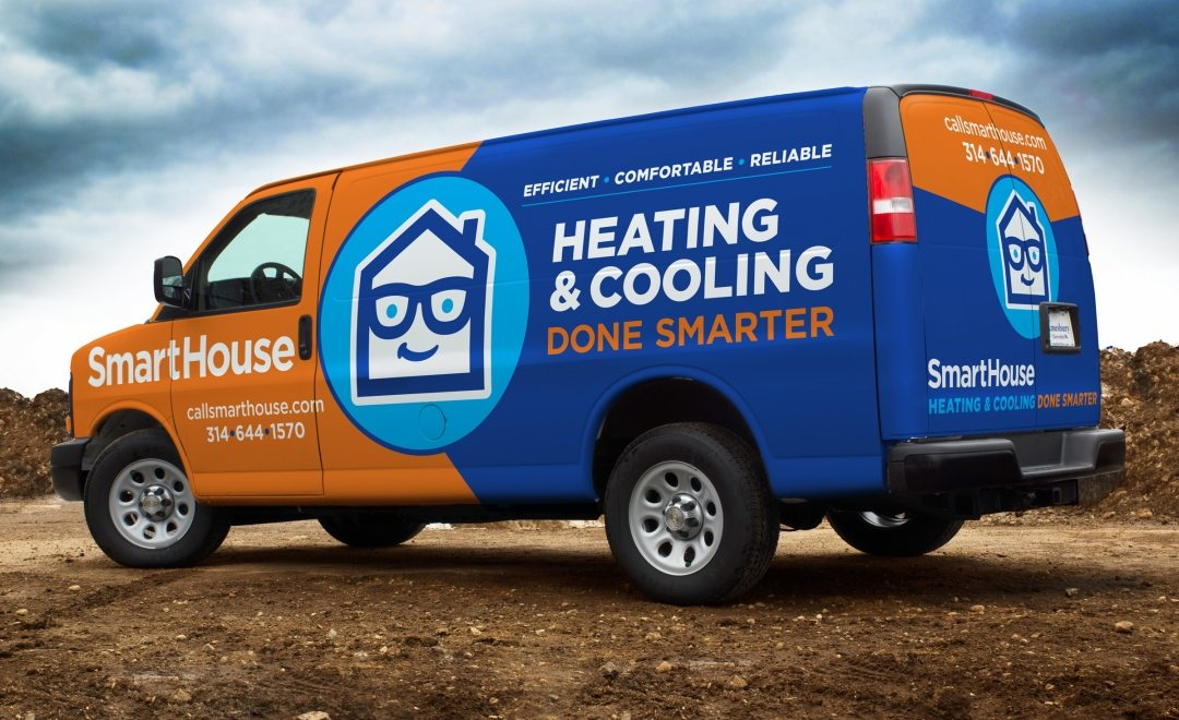 Vehicle and fleet design for a HVAC contractor in St. Louis, MO. This project also included their branding, and stationery design.
