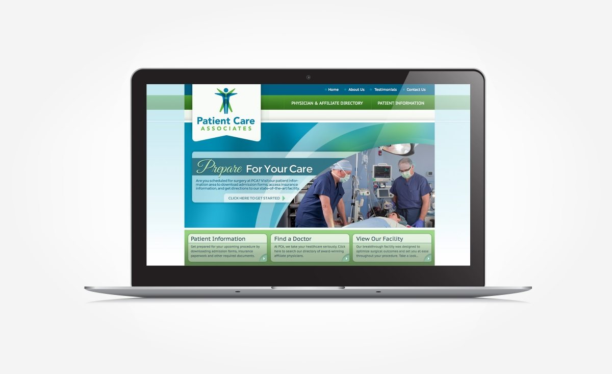 Web design for a surgical center located in Englewood, NJ.