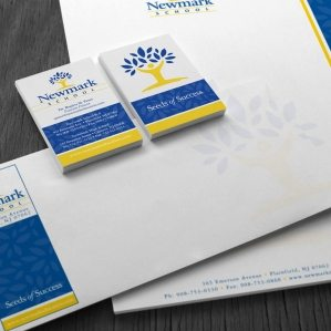 Stationery design for Newmark High School in New Jersey.