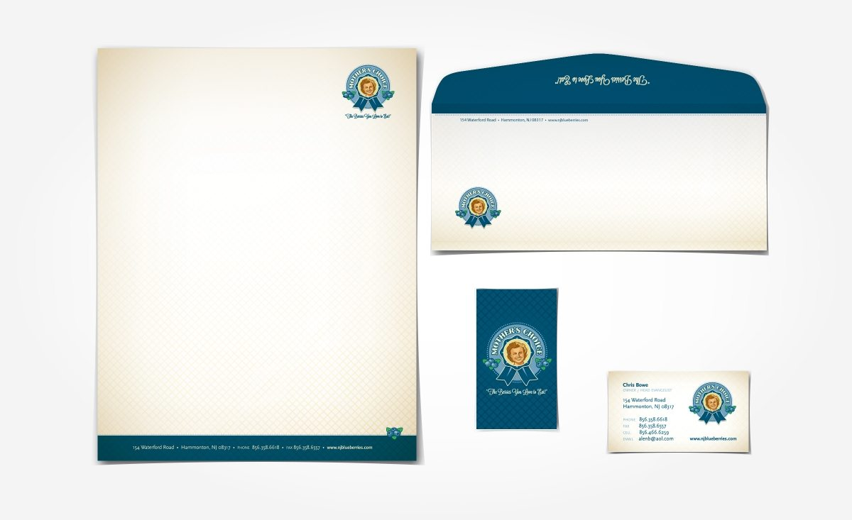 Stationery and business cards for a New Jersey based blueberry farm.