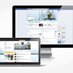 Facebook and Twitter design for Lew Corporation.