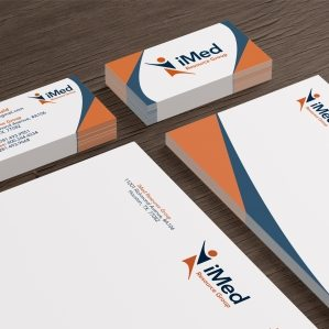 Stationery design for health plans and referral services located in Houston, TX.