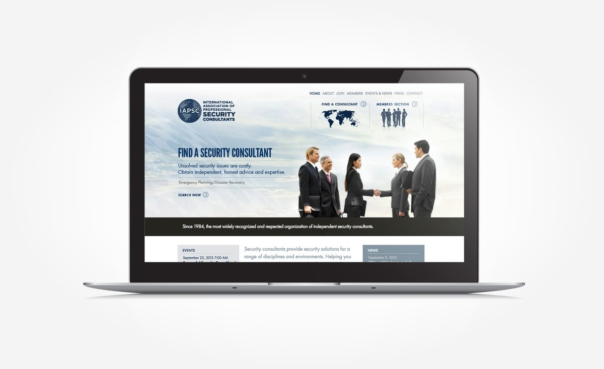 Web design for a security consultant organization.