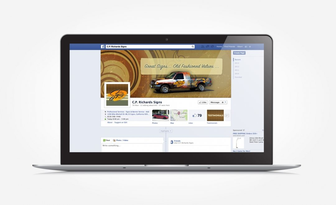 Facebook design and management for C.P Richards Signs.