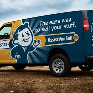 Brand identity and vehicle wrap design for an online marketplace.