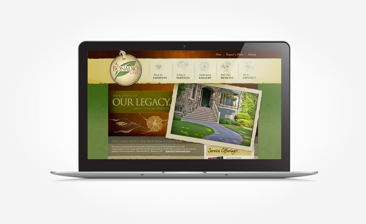 Web design for a landscape company in Wellesley, MA.