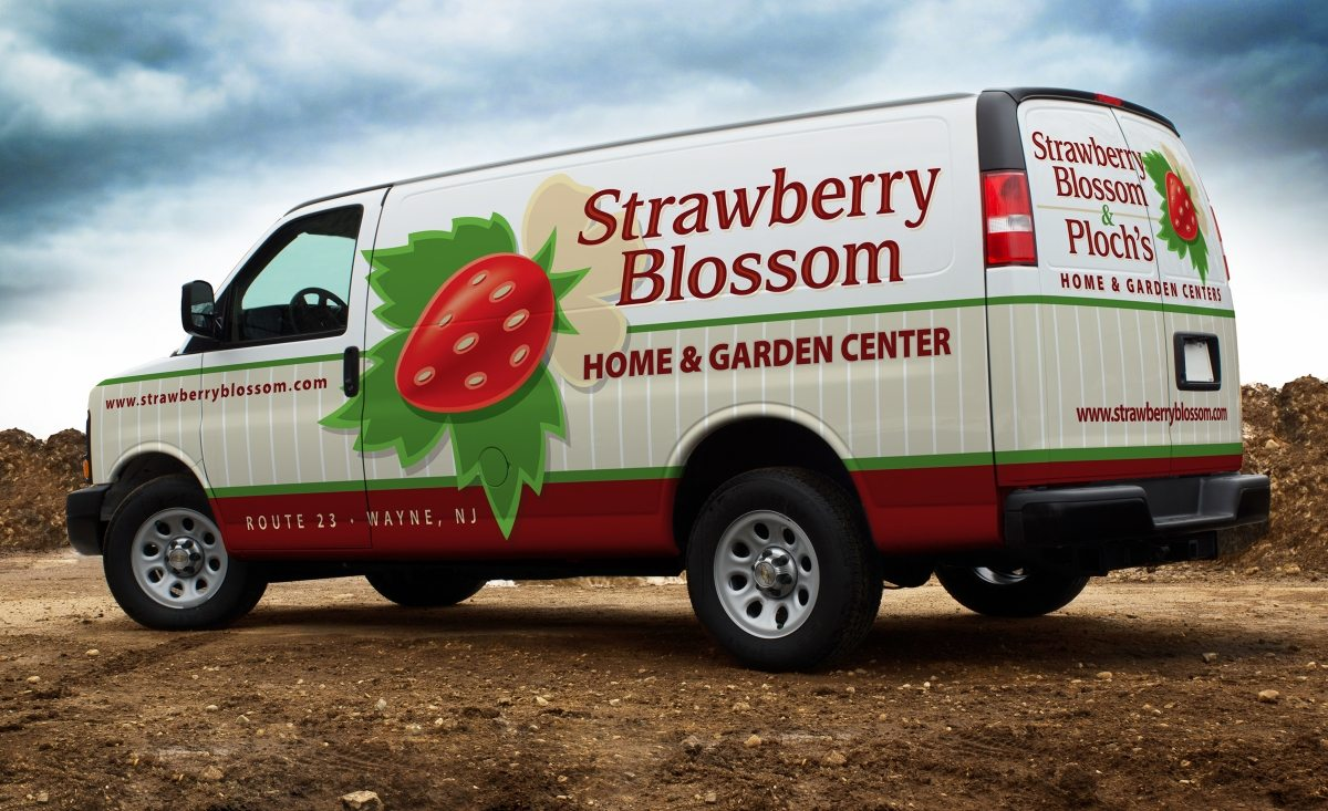 Logo Design Strawberry Blossom Plochs Home Garden Centers