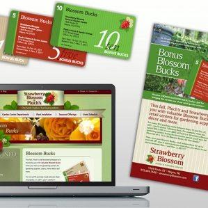 Bonus Blossom Bucks coupon design for Strawberry Blossom