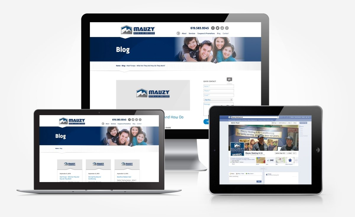 Facebook, blog and newsletter design for Mauzy Heating & Air.