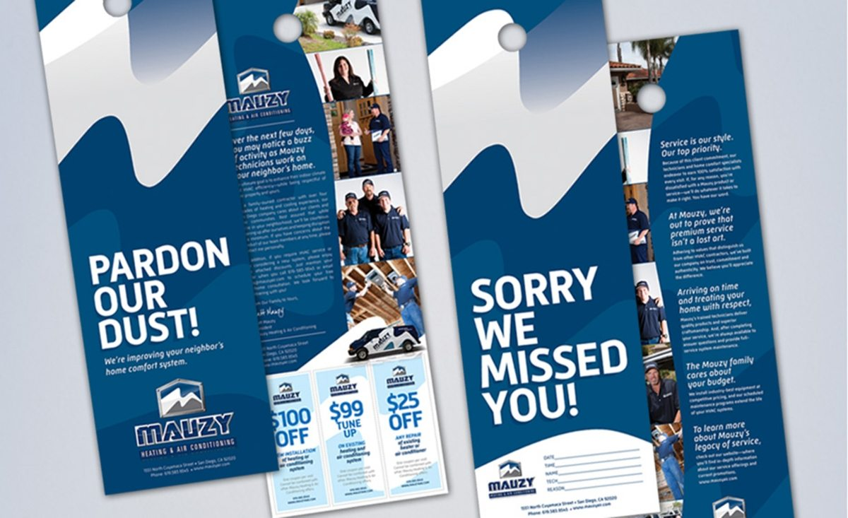 Door hangers design, copywriting and printing