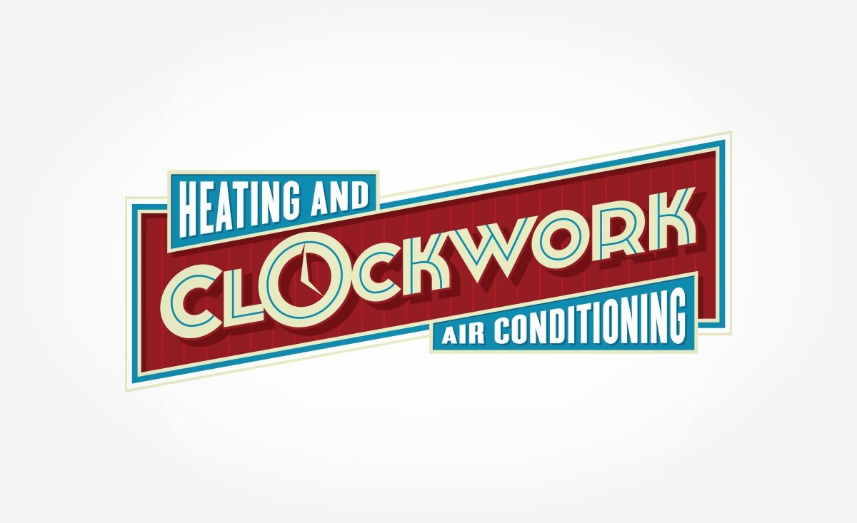 Heating And Air : Retro brand identity clockwork heating and air
