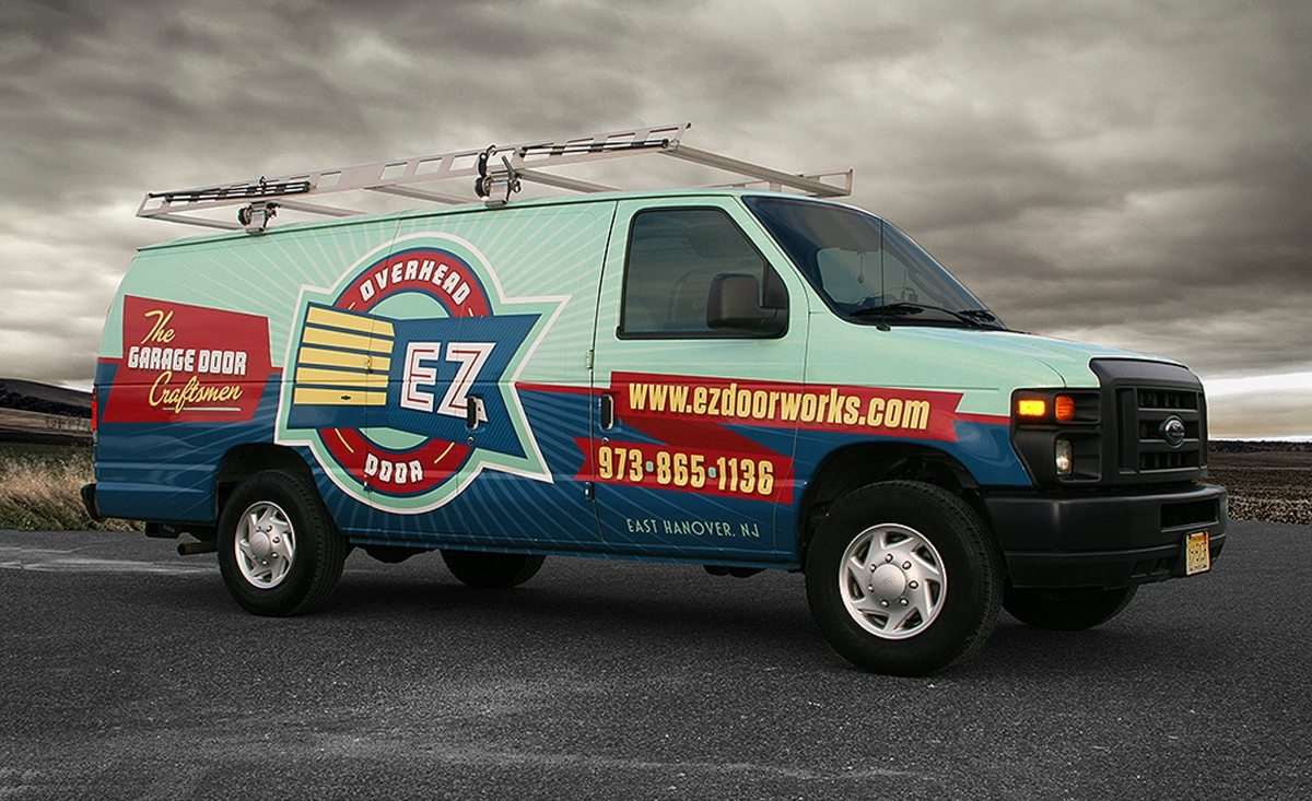 Brand identity and truck wrap design for garage door installation company in East Hanover, NJ.