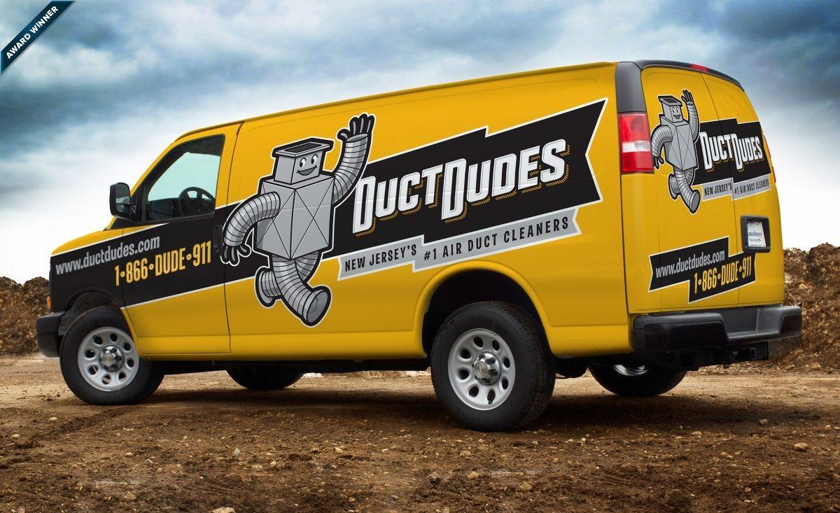 Award-winning mascot design and fleet branding on this retro themed truck wrap design for this NJ-based HVAC contractor. Gold Award 2012 Art Directors Club of NJ