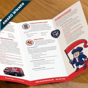 Award winning trifold brochure design for a HVAC and refrigeration company in Las Vegas, NV. Winner of Collateral/All Printed Materials Rack Brochure, color in the 2014 NJ Ad Club Jersey Awards.