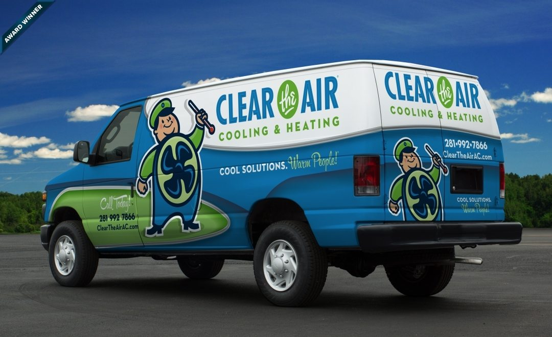 Award-winning vehicle wrap design for a HVAC company in Texas. Winner of Art Directors Club of NJ Award for Corporate & Promotional Design - Miscellaneous, Silver, 2014.