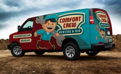 One of our best vehicle wraps for a heating and air conditioning company utilizing retro branding and logo design.