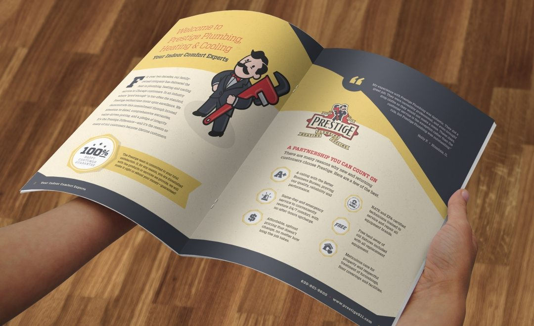 12-page brochure design, layout, copywriting and printing for this HVAC company located in North Aurora, IL
