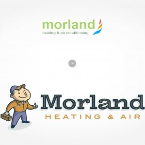 Before & after logo re-design for Morland Heating & Air