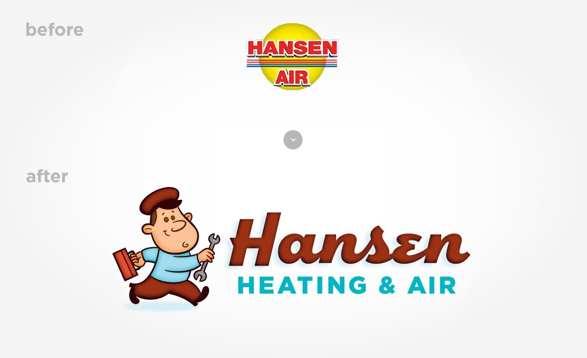 Before & after logo design for Hansen Heating & Air