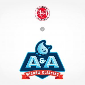 Before & after logo design for A&A Window Cleaning