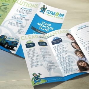 Trifold brochure design for Clear the Air Cooling & Heating HVAC Company in Friendswood, TX.