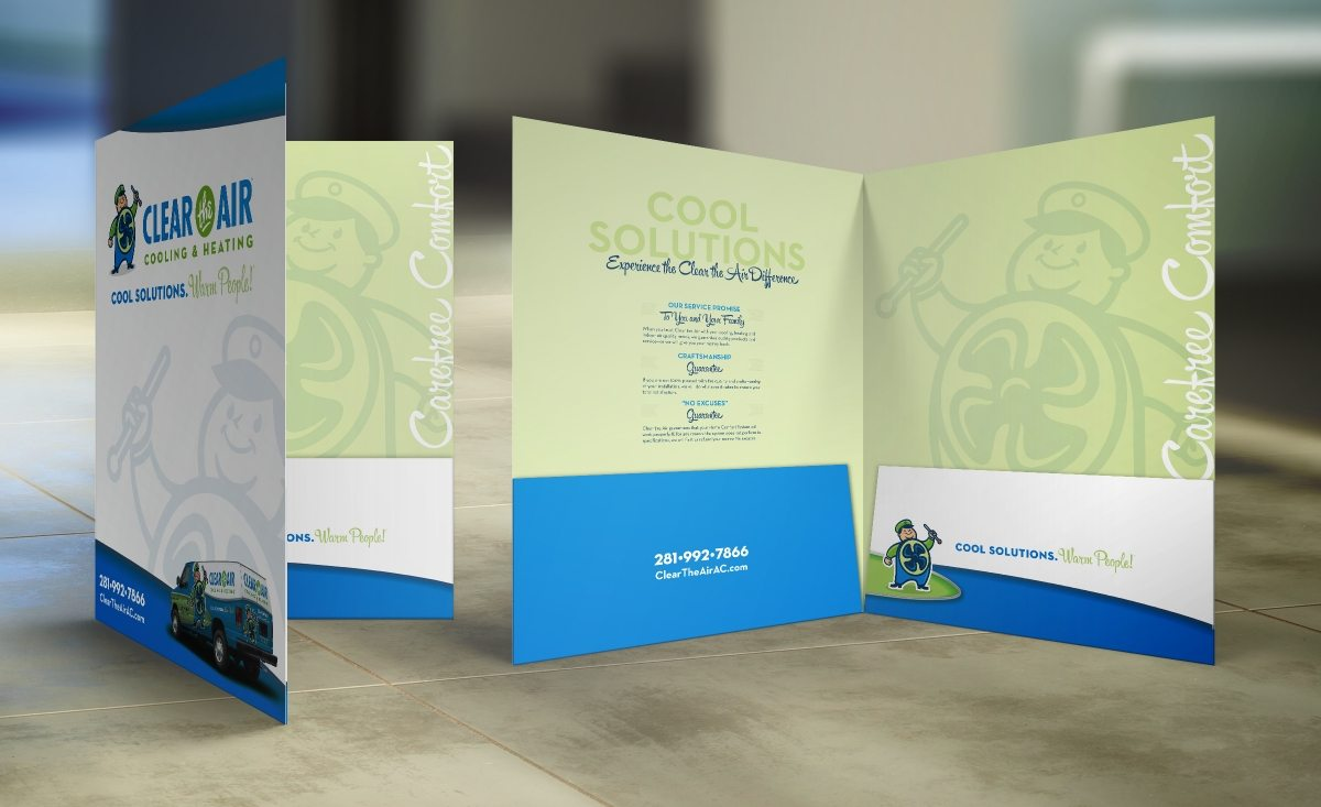 Pocket Folder for Clear the Air Cooling & Heating HVAC Company in Friendswood, TX.