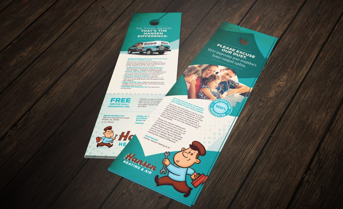 Door hanger design for Hansen Heating & Air HVAC company in Mobile, AL.