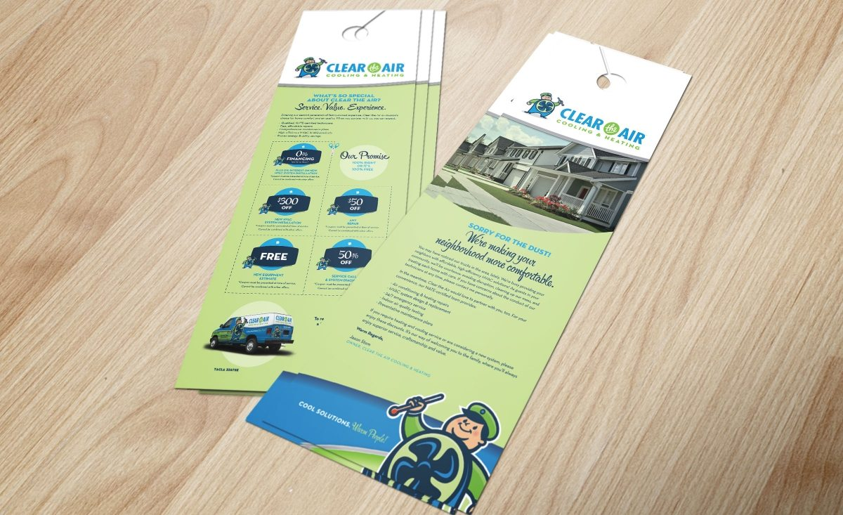 Door hanger design for Clear the Air Cooling & Heating HVAC company in Friendswood, TX.