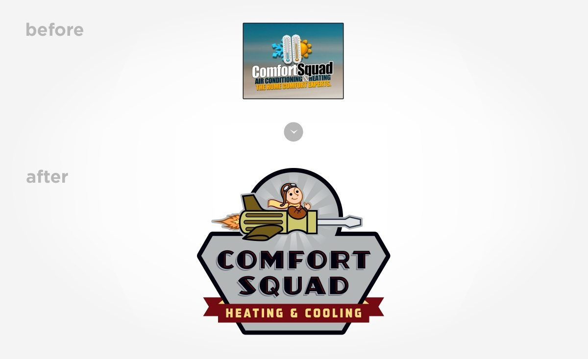 Before & after example of the logo for Comfort Squad