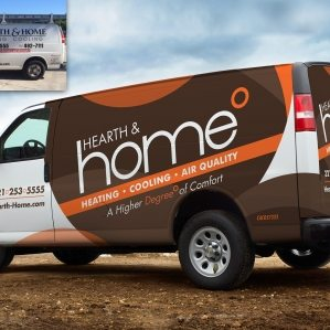 Before & after Hearth & Home HVAC contractor truck wrap and fleet branding integration.